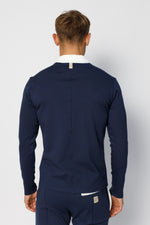 Navy Archer Pinstripe Revere Long Sleeve Slim Fit Polo
