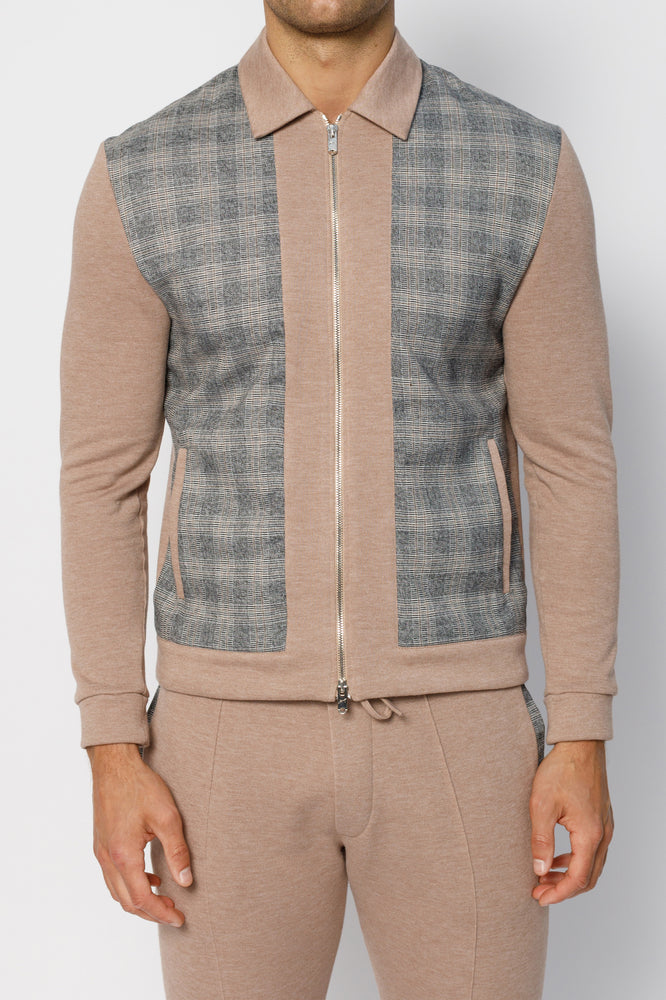 Tan Granville Check Panel Zip Through Slim Fit Shirt - P r é v u . S t u d i o .