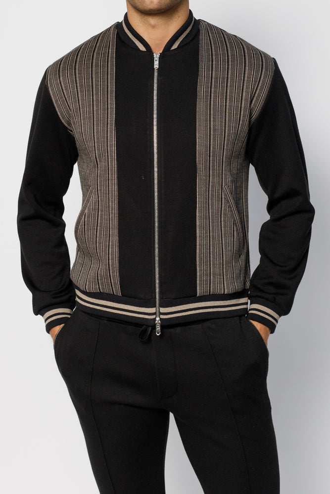 Black Stanworth Stripe Panel Bomber Jacket