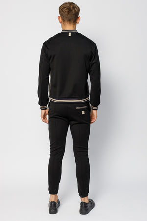 Load image into Gallery viewer, Black Stanworth Stripe Panel Bomber Jacket