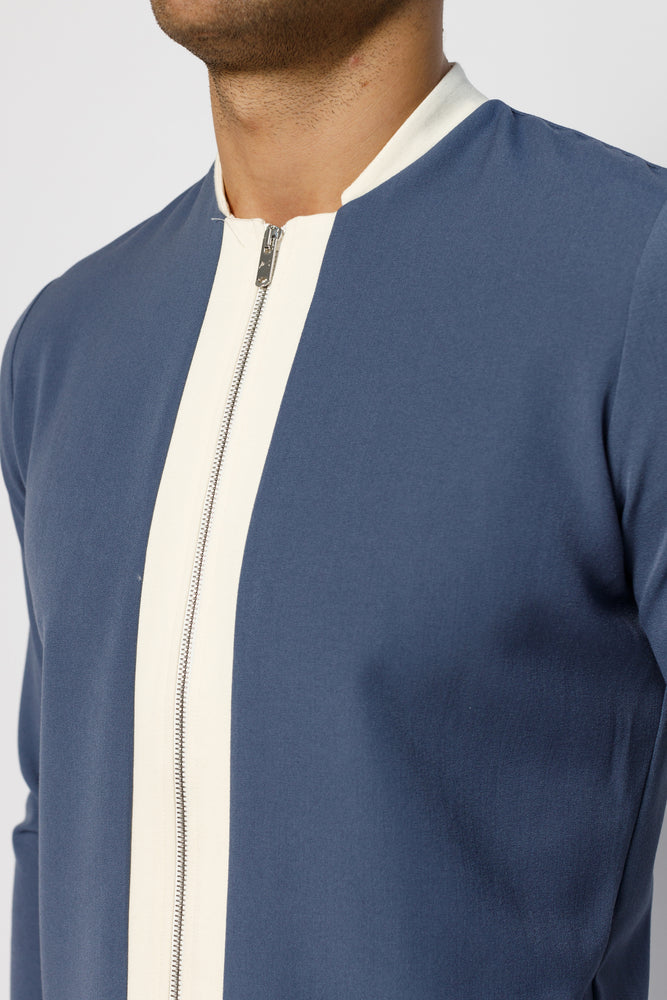 Blue Argenta Panel Zip Long Sleeve Top