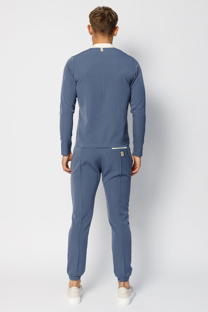 Blue Argenta Slim Fit Trousers - P r é v u . S t u d i o .