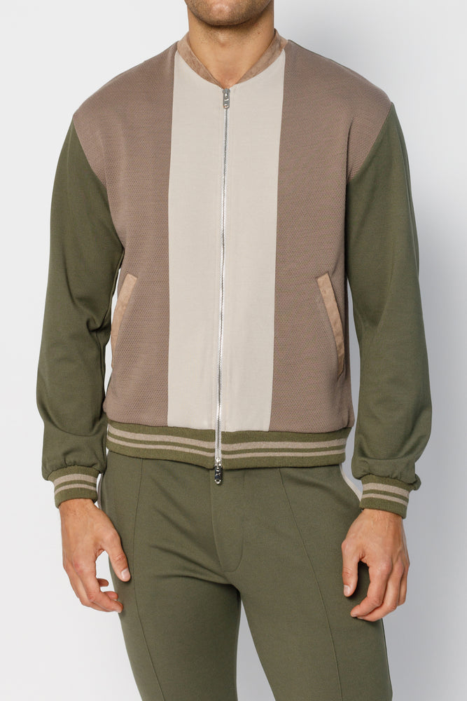 Load image into Gallery viewer, Khaki Kennedy Panel Bomber Jacket - P r é v u . S t u d i o .