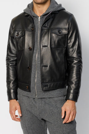 Load image into Gallery viewer, Black Moresby Leather Trucker Jacket - P r é v u . S t u d i o .
