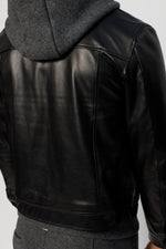 Black Moresby Leather Trucker Jacket - P r é v u . S t u d i o .