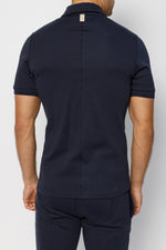 Dark Navy Signature Logo Zip Neck Slim Fit Polo