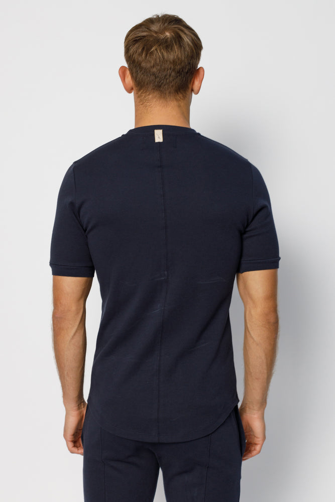 Load image into Gallery viewer, Dark Navy Signature Logo Embroidered Slim Fit T-Shirt - P r é v u . S t u d i o .