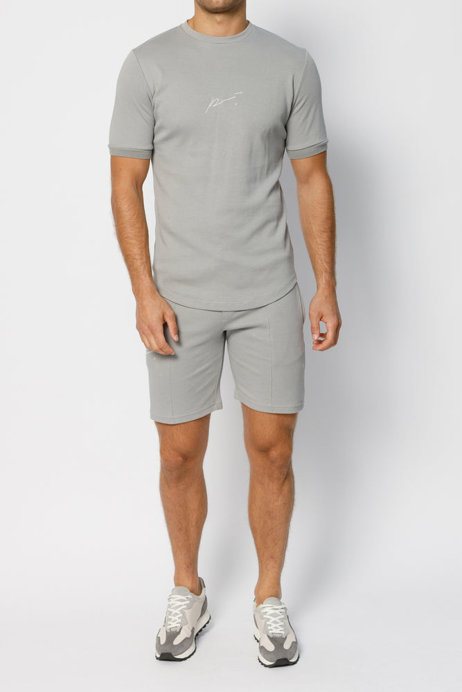 Light Grey Signature Logo Shorts - P r é v u . S t u d i o .