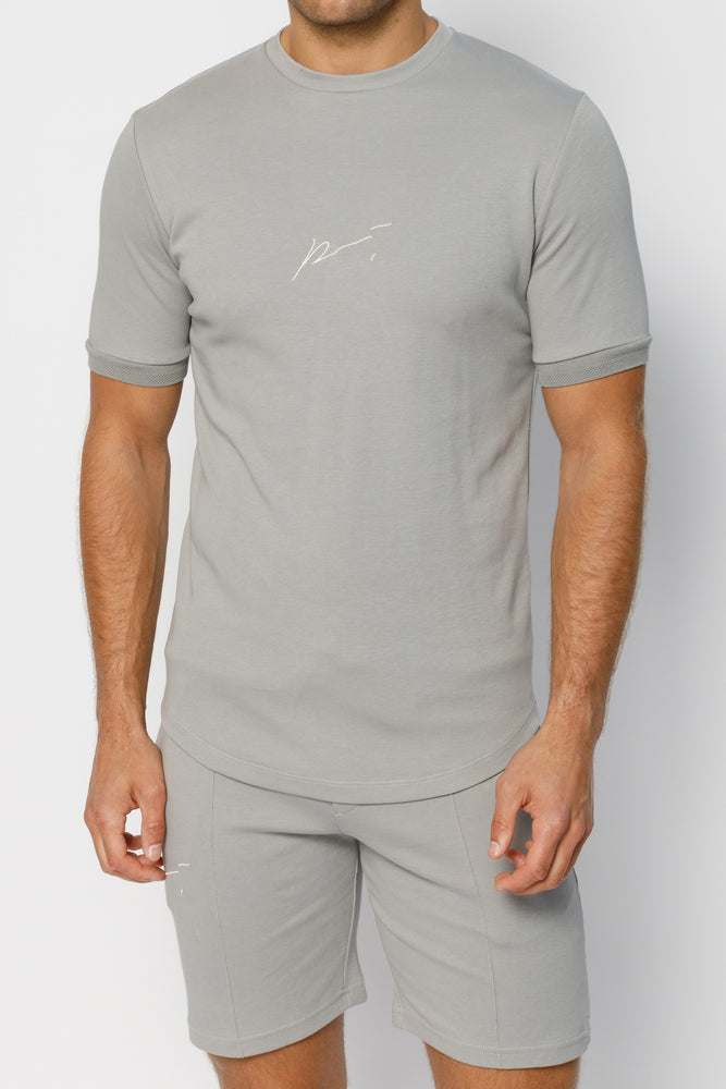 Light Grey Signature Logo Print Slim Fit T-Shirt - P r é v u . S t u d i o .