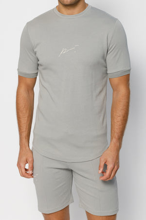 Load image into Gallery viewer, Light Grey Signature Logo Print Slim Fit T-Shirt - P r é v u . S t u d i o .