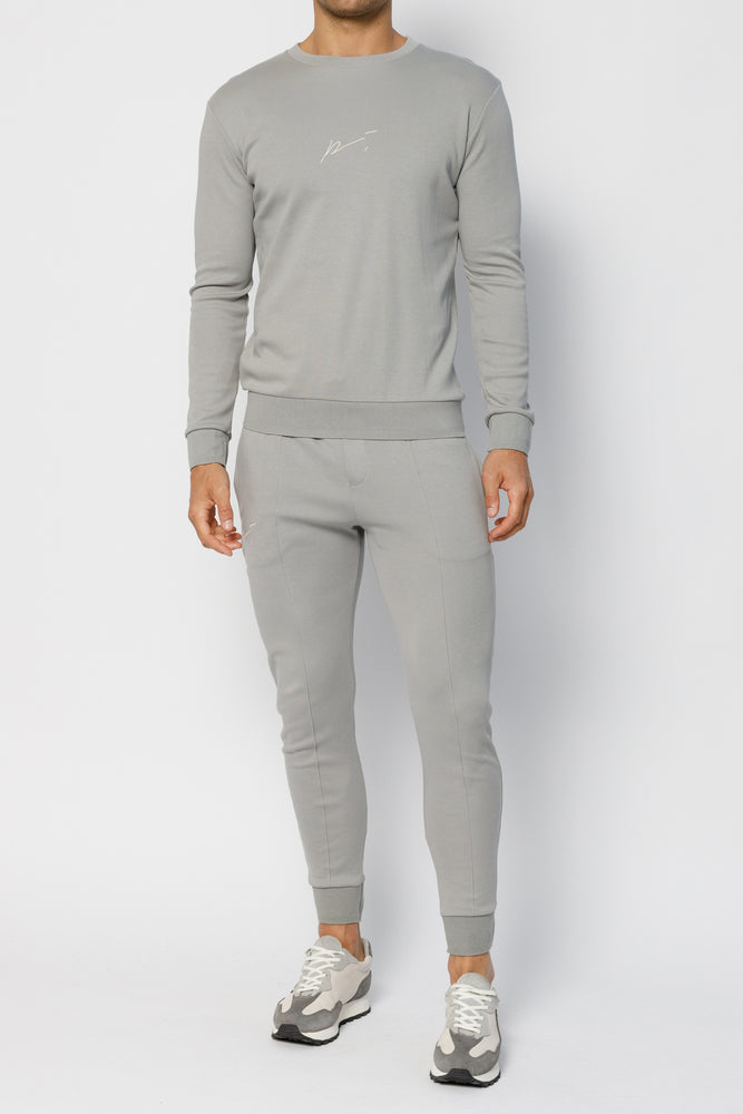 Light Grey Signature Logo Slim Fit Jogger - P r é v u . S t u d i o .