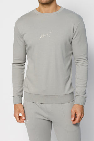 Load image into Gallery viewer, Light Grey Signature Logo Sweatshirt - P r é v u . S t u d i o .