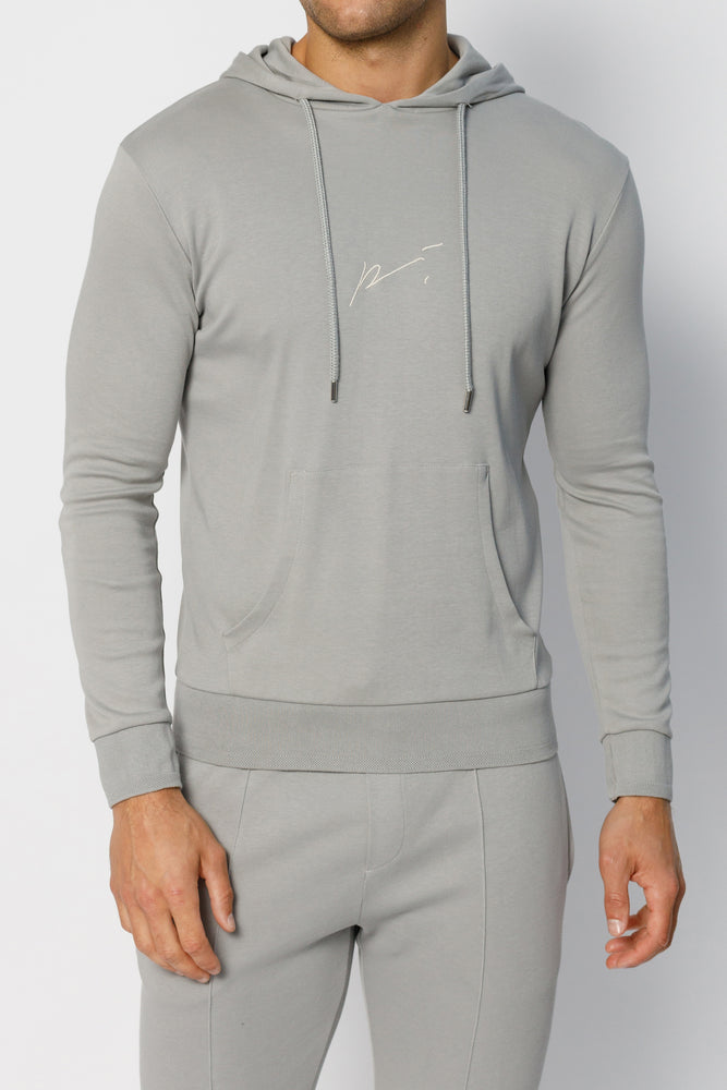 Light Grey Signature Logo Embroidered Hoodie - P r é v u . S t u d i o .
