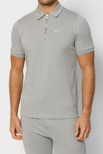 Light Grey Signature Logo Zip Neck Slim Fit Polo - P r é v u . S t u d i o .