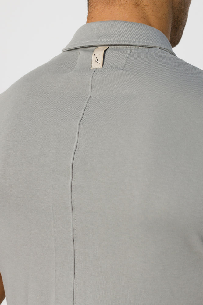 Light Grey Signature Logo Zip Neck Slim Fit Polo