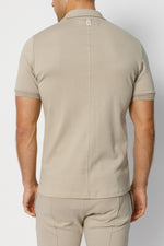 Stone Signature Logo Zip Neck Slim Fit Polo