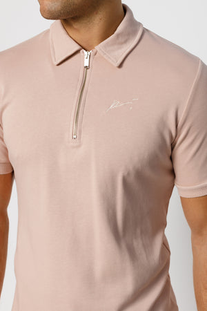 Load image into Gallery viewer, Pink Signature Logo Zip Neck Slim Fit Polo - P r é v u . S t u d i o .