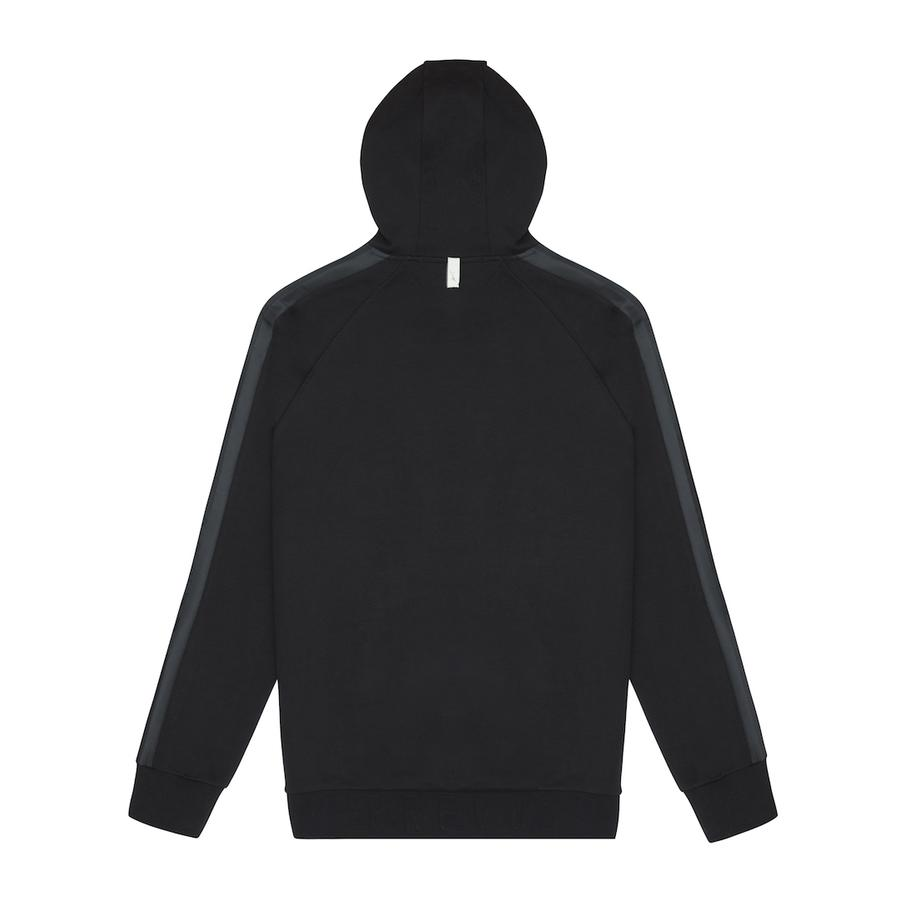 Tech Jersey Zip Through Hoodie Black