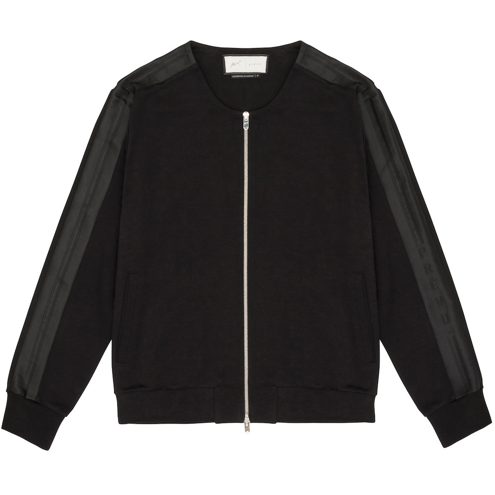 Tech Jersey Collarless Jacket Black