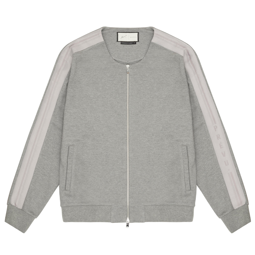 Tech Jersey Collarless Jacket Grey Marl