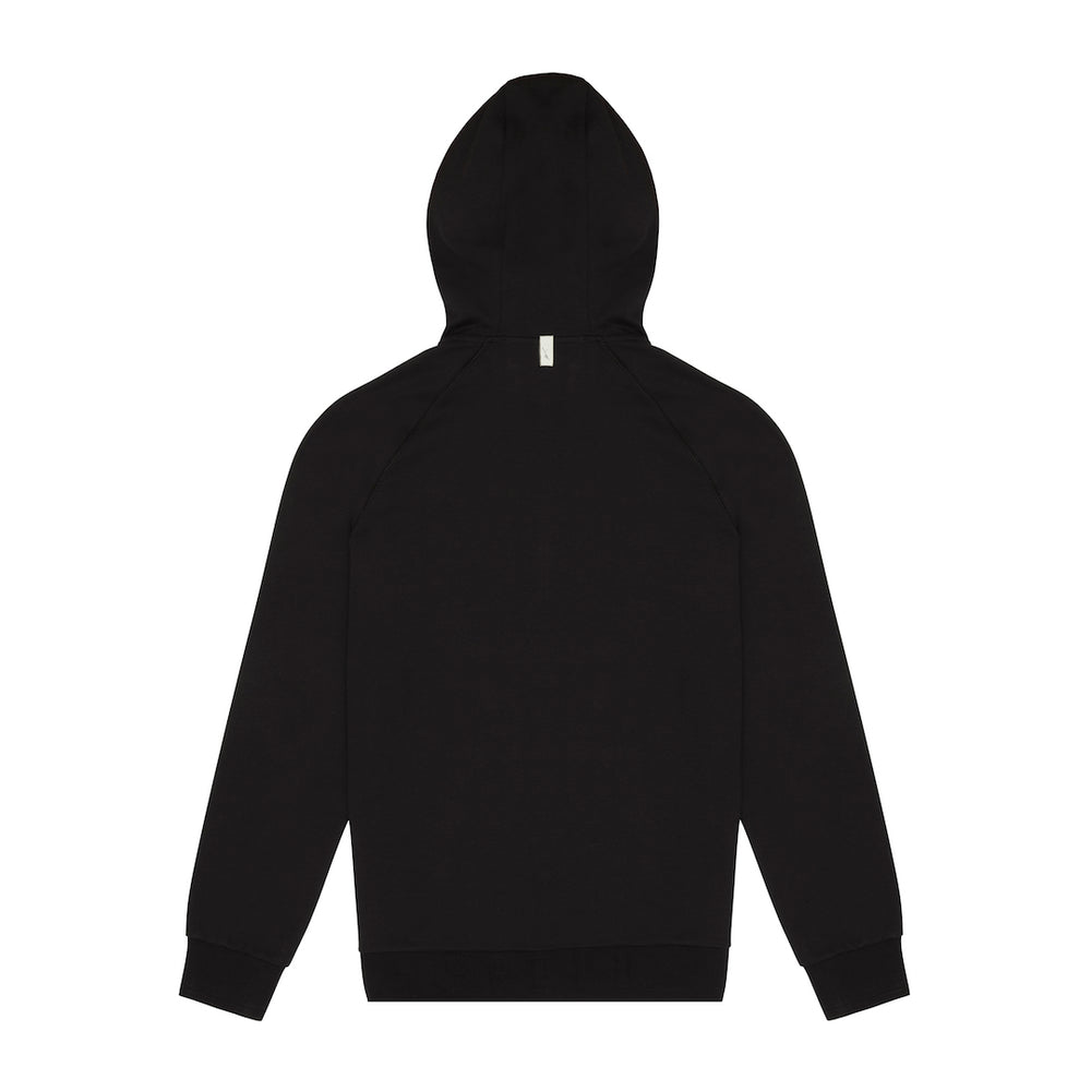 Core Combed Cotton Print Hoodie Black