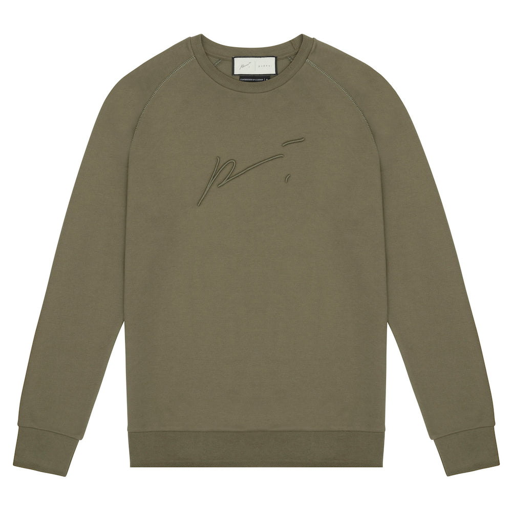 Tech Jersey Embroidered Raglan Sleeve Sweatshirt Olive