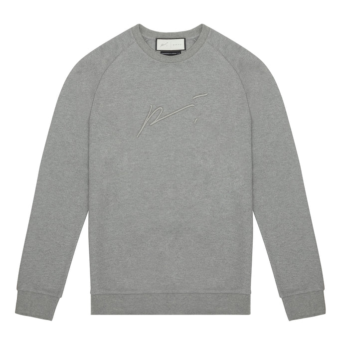GREY MARL TECH JERSEY EMBROIDERED RAGLAN SLEEVE SWEATSHIRT