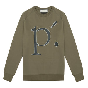 Tech Jersey Crackle Print Raglan Sleeve Sweatshirt Olive