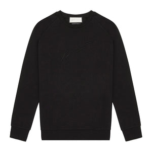 Tech Jersey Embroidered Raglan Sleeve Sweatshirt Black