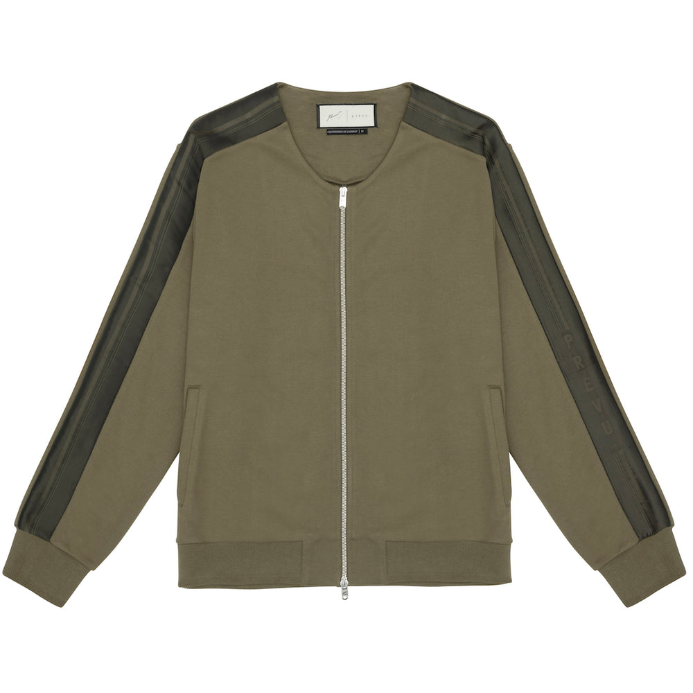 Tech Jersey Collarless Jacket Olive