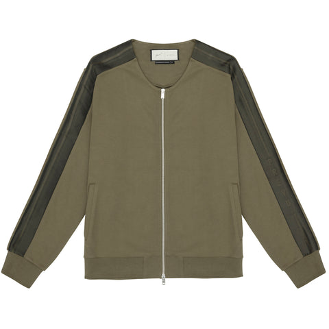 OLIVE TECH JERSEY COLLARLESS JACKET
