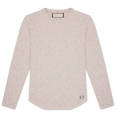 CASHMERE TOUCH OATMEAL BRANDED LONG SLEEVE TSHIRT