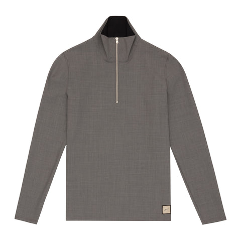 LIGHT GREY WOOL DRILL TOP WITH ZIP AND TROUSER