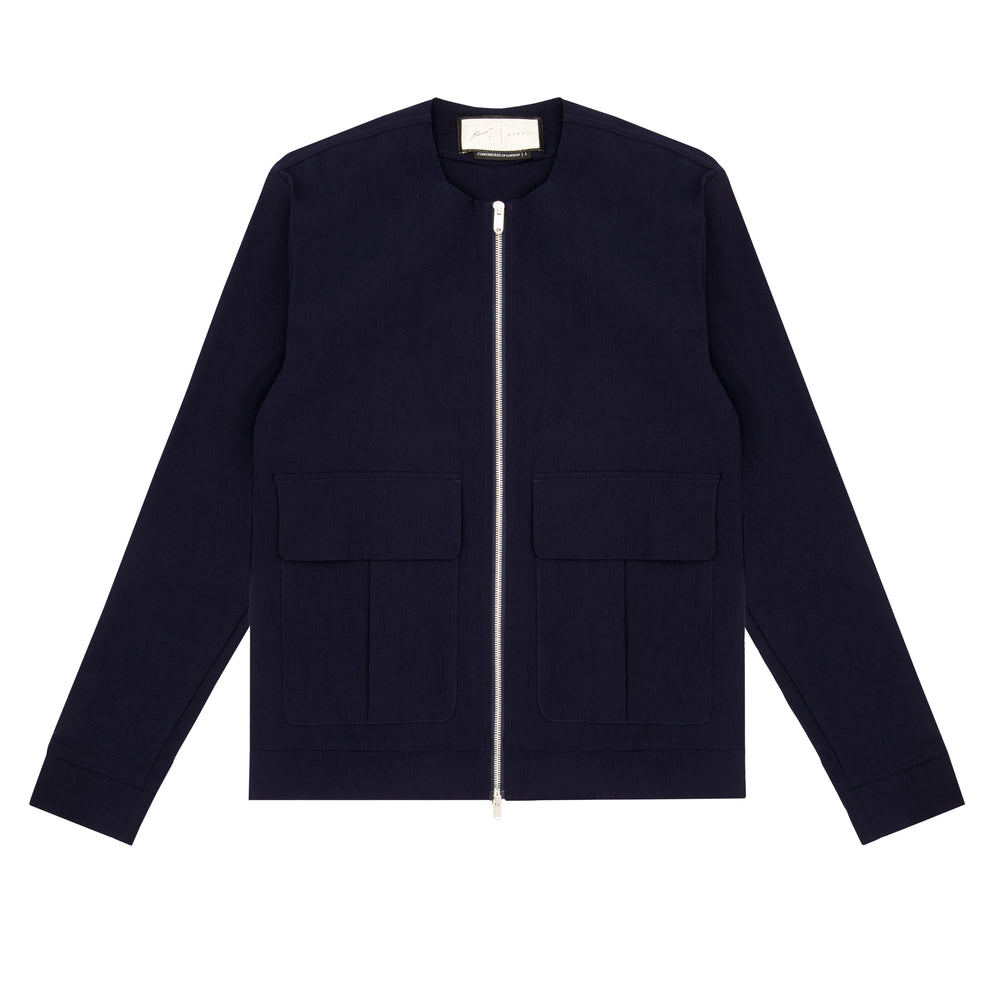 Franklin Street Collarless Jacket Navy - P r é v u . S t u d i o .