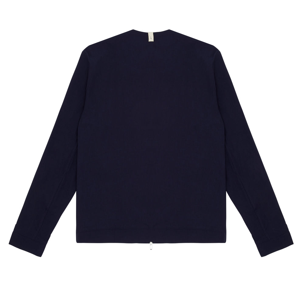 Load image into Gallery viewer, Franklin Street Collarless Jacket Navy - P r é v u . S t u d i o .