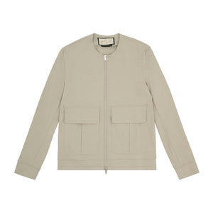 Franklin Street Collarless Jacket Stone
