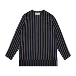 Carlo Long Sleeve Collarless Stripe Shirt