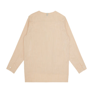 Load image into Gallery viewer, Palma Linen Long Sleeve Collarless Shirt & Short Twinset Pale Peach - P r é v u . S t u d i o .
