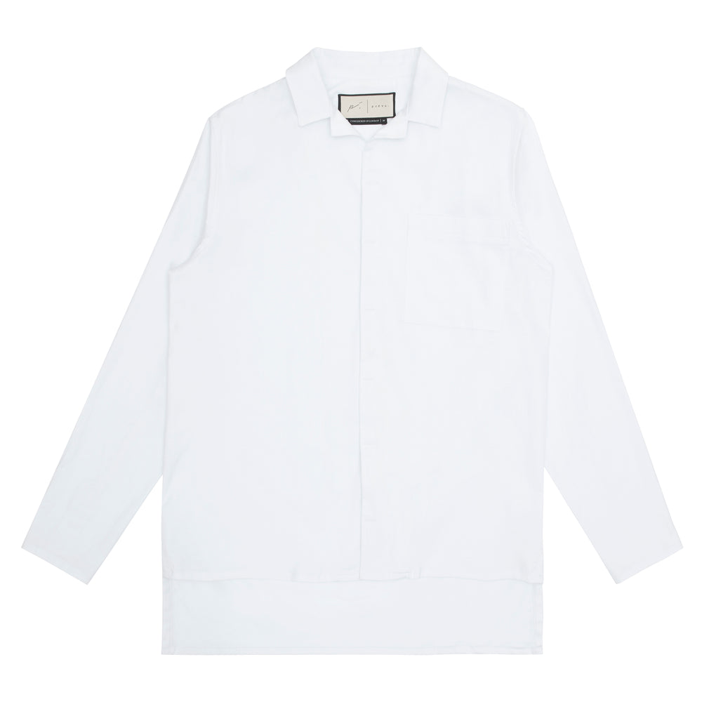 Palma Linen Long Sleeve Revere Collar Linen Shirt & Short Twinset White