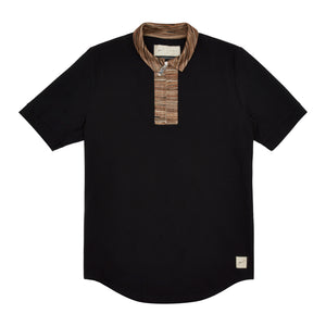 Wall Street Contrast Zip Polo Shirt Black
