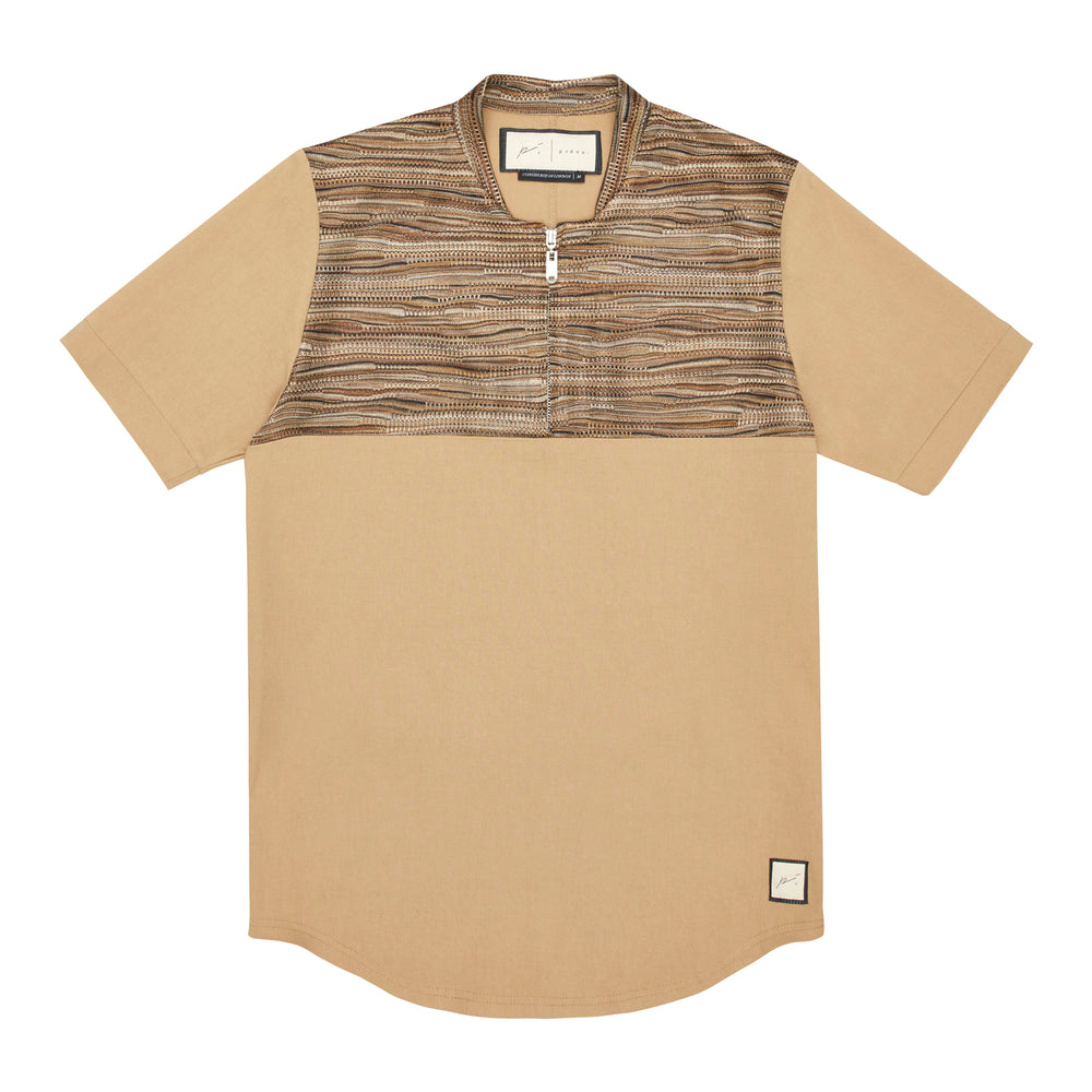Wall Street Panel Zip T-Shirt Tan