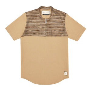 Wall Street Panel Zip T-Shirt Tan - P r é v u . S t u d i o .