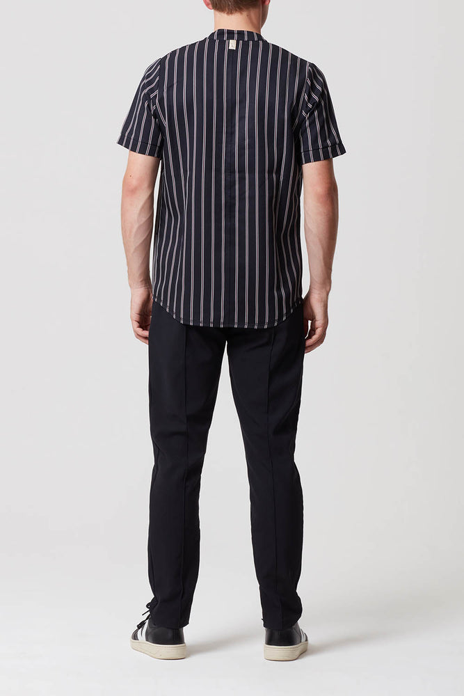 Carlo Stripe Grandad Collar T-Shirt Navy