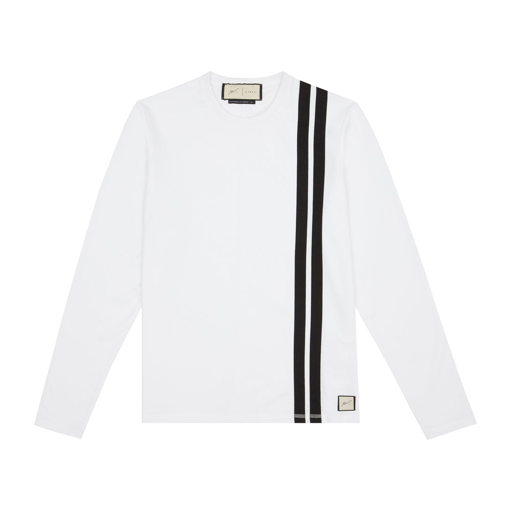 White Arthur Avenue Stripe Slim Fit Long Sleeve T-shirt - P r é v u . S t u d i o .