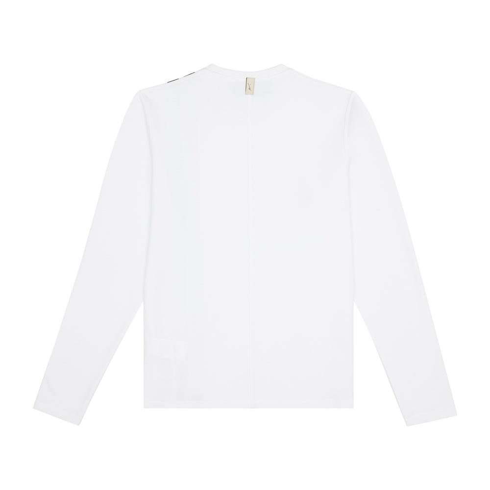 Load image into Gallery viewer, White Arthur Avenue Stripe Slim Fit Long Sleeve T-shirt - P r é v u . S t u d i o .