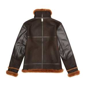 Load image into Gallery viewer, Brown Duke Shearling Leather Aviator Jacket - P r é v u . S t u d i o .