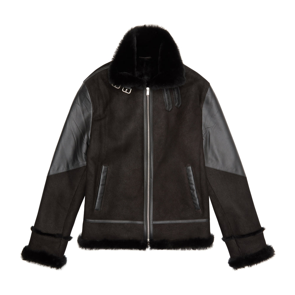 Black Duke Shearling Leather Aviator Jacket - P r é v u . S t u d i o .
