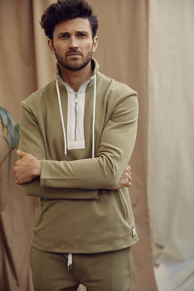 Khaki 1/4 Zip Core Luxe Sweatshirt