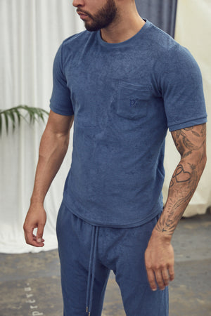 Navy Astor Towelling Short Sleeve Slim Fit T-Shirt - P r é v u . S t u d i o .