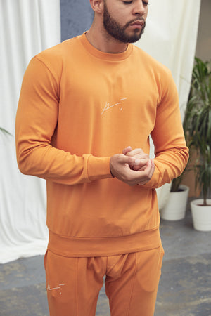 Orange Signature Logo Sweatshirt - P r é v u . S t u d i o .